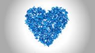Simbolo cuore fatta da blu farfalle-alfa