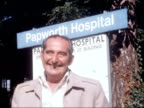 first anniversary of operation ENGLAND Cambridgeshire Papworth Hospital EXT Keith Castle standing in front of Papworth Hospital on occasion of first...