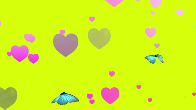 Hearts And Butterfly Animation - looping