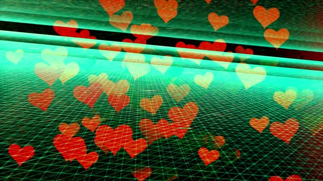 Hearts Flying in Digital environment, Internet Love, Internet Dating.