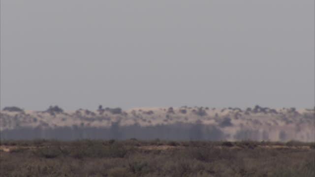 A heat haze undulates over a desert landscape.