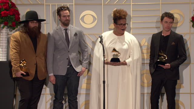 SPEECH Heath Fogg Brittany Howard Steve Johnson and Zac Cockrell of Alabama Shakes at 58th Annual GRAMMY Awards® Press Room in Los Angeles CA