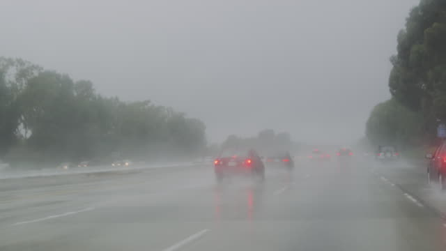Heavy Downpour on the 405 Freeway, Southern California, United States