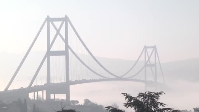 Heavy fog covers Turkey's biggest city Istanbul on April 16 2015 The video displays Bosphorus Bridge Ortakoy Mosgue and boats over Bosphorus covered...