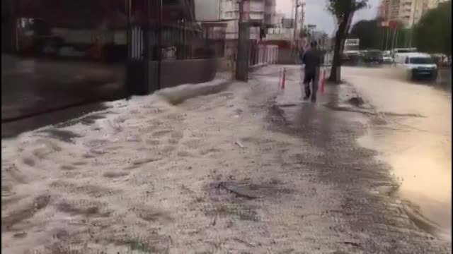 Heavy rain causes floods in Mersin southern province of Turkey on November 19 2017