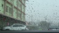 Heavy rain with bad  weather conditions on the road