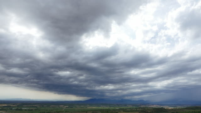 Heavy rainstorm over the Pyrenees, Spain