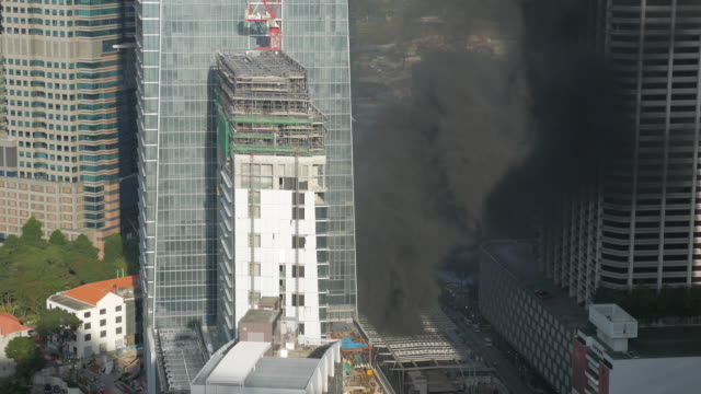heavy smoke from a high rise building