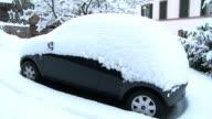 MS Heavy snow layers on car in winter / Saarburg, Rhineland-Palatinate, Germany