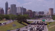 Heavy Traffic on Interstate 35 with Downtown Austin in the Background