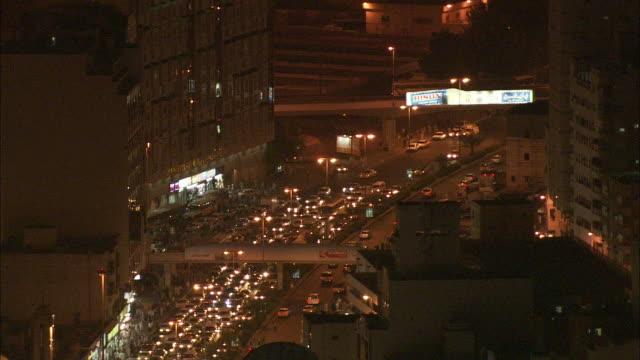 Heavy traffic streams into a city in Saudi Arabia.