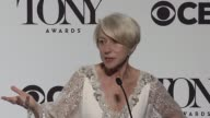 INTERVIEW Helen Mirren on her win and playing the same role in a film and on broadway at 2015 Tony Awards Press Room at Radio City Music Hall on June...