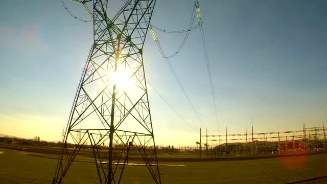Heli Aufnahme der Übertragung Turm bei Sonnenuntergang
