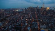 Helicopter Aerial shots over New York City look down at cityscape activity on June 18th 2015 Shots Night time aerial shots of the downtown Manhattan...