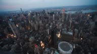 Helicopter Aerial shots over New York City look down at cityscape activity on June 18th 2015 Shots Aerial shot flies over Central Park looking...