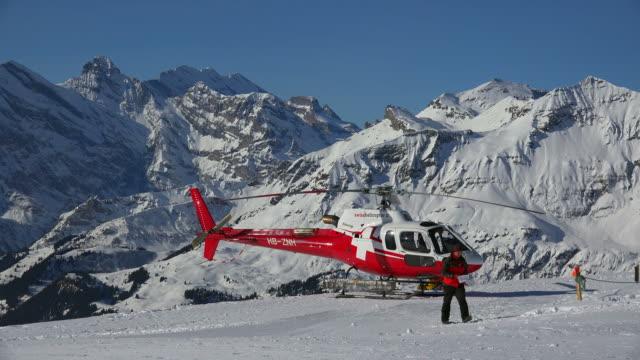 Helicopter at Mannlichen, Grindelwald, Bernese Alps, Switzerland, Europe