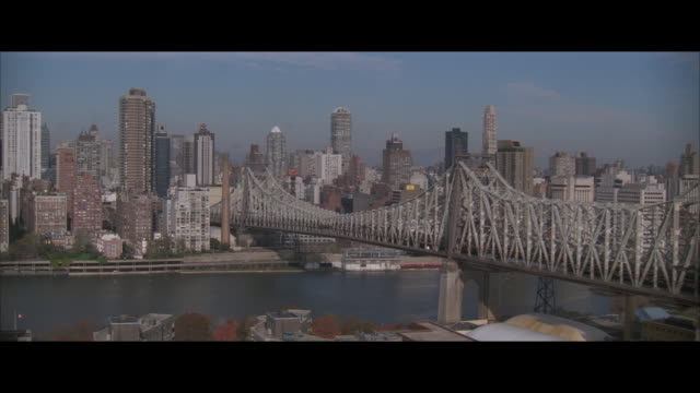 AIR TO AIR, Helicopter flying over Queensboro Bridge, city skyline in background, New York City, New York, USA