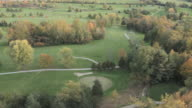 Helicopter footage over golf course in fall in Vermont.