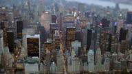 helicopter shot of new york city skyline landmark