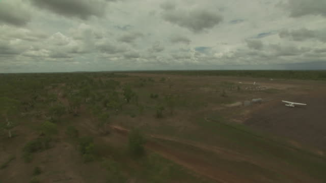 Helicopter's point of view Landing at Oenpelli airport, Arnhem Land, NT, Australia