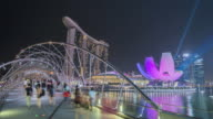 WS T/L Helix bridge and Marina Bay Sands at night during light show / Singapore