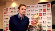 celebrity interviews ENGLAND London Twickenham Rugby Ground PHOTOGRAPHY *** Jamie Theakston and Emma Bunton speaking to press and posing for...