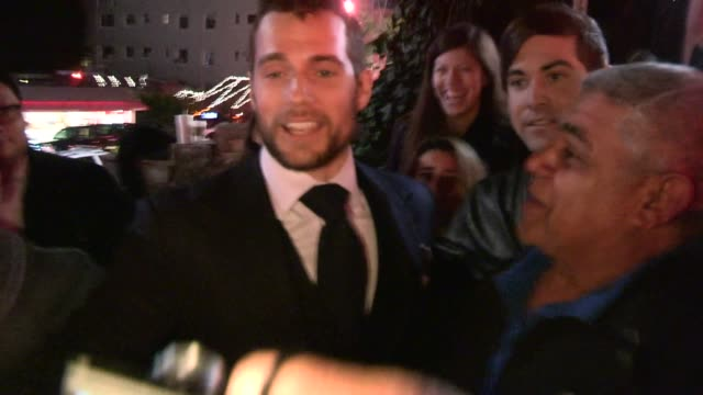 Henry Cavill greets fans while departing Chateau Marmont in West Hollywood in Celebrity Sightings in Los Angeles