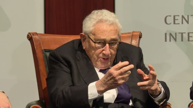 Henry Kissinger foreign policy and national security legend discusses the role of information sharing leaks and secrets during an event to mark the...