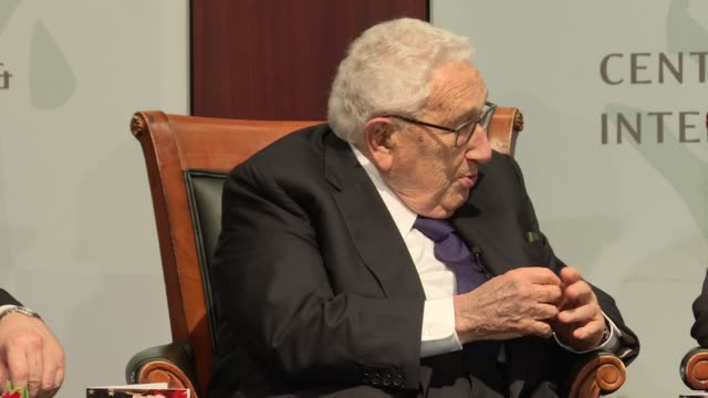 Henry Kissinger foreign policy and national security legend discusses staffing at an event to mark the 70th Anniversary of the National Security...