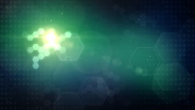 Hexagonal Designed Background Loop - Glowing Aqua (Full HD)