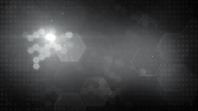 Sechseckige gestalteten Hintergrund Loop-Glowing Black and White (HD