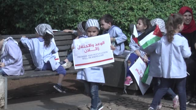 Hhe Palestinian Alliance of Forces holds a sitin protest outside the office of the UN Economic and Social Commission for Western Asia in Beirut on...