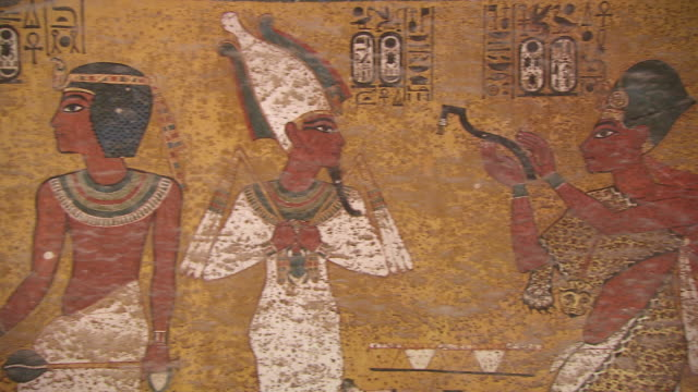 MS PAN Hieroglyph painting on wall of King Tut's Tomb / Egypt