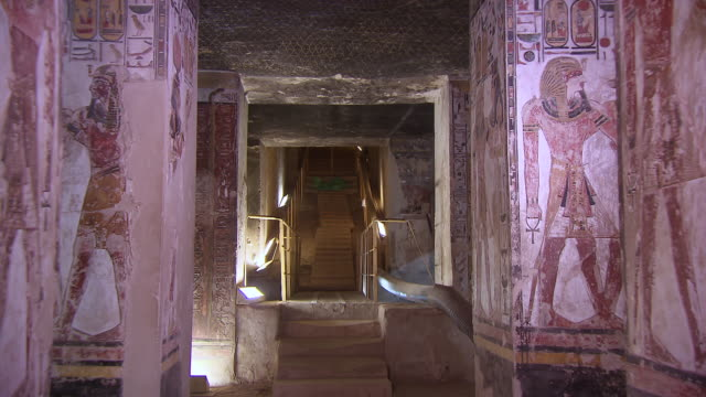 MS ZO Hieroglyphics painting on entrance wall in Tomb of Seti 1 / Egypt