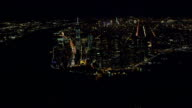 High Altitude Angled XWS New Jersey Hudson River end of island Financial District w/ Brooklyn Manhattan Bridges necklace lights outline w/ Brooklyn...