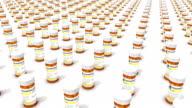 High angle arc pull back revealing endless Pill Bottles