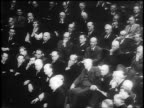 B/W 1945 high angle congressmen listen attentively to Roosevelt's last address to Congress / Capitol Bldg