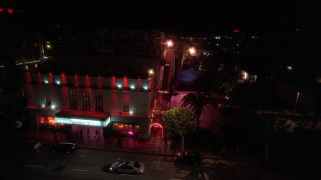 high angle down of multi story building with marquee. could be theater, nightclub, or strip club. pedestrians on sidewalk and cars drive by on city street. palm trees.