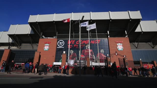 High angle long shot Anfield Stadium exterior Liverpool v Swansea on February 17 2013 in Liverpool England