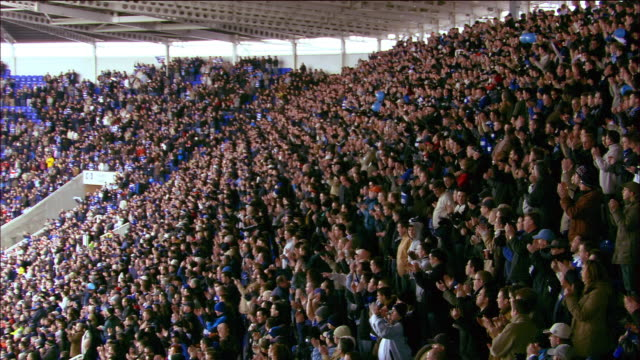 High angle long shot crowd standing and clapping during soccer match at Madejski Stadium / Reading, England