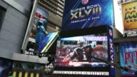 High Angle Long Shot Super Bowl ads Time Square is preparing for the upcoming Super Bowl XLVIII shot in New York on the 31st of January 2014