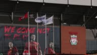 High angle mid shot of Anfield Stadium exterior Liverpool v Swansea on February 17 2013 in Liverpool England