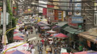High angle of Manila downtown crowded street in Philippines