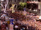 high angle of people in audience and ticker tape parade / Operation Welcome Home / NYC