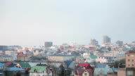 High Angle of snow flurries in Reykjavik