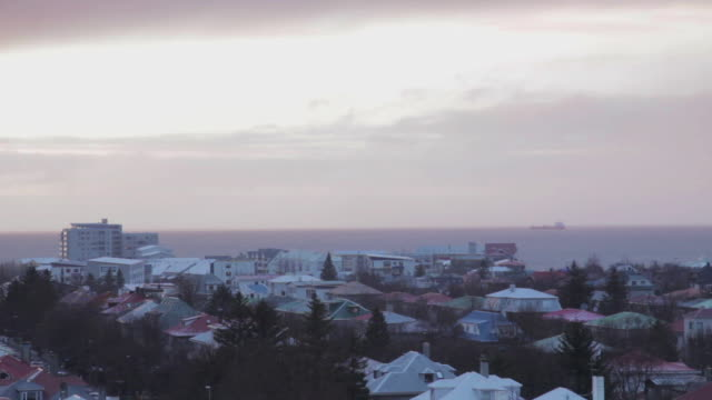 High Angle of the Reykjavik skyline and the ocean