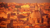 high angle PAN rooftops of Rome / Trinita dei Monti / Italy