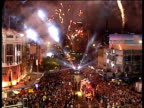 WA high angle, Street parade at Sydney Gay & Lesbian Mardi Gras, Fireworks overhead