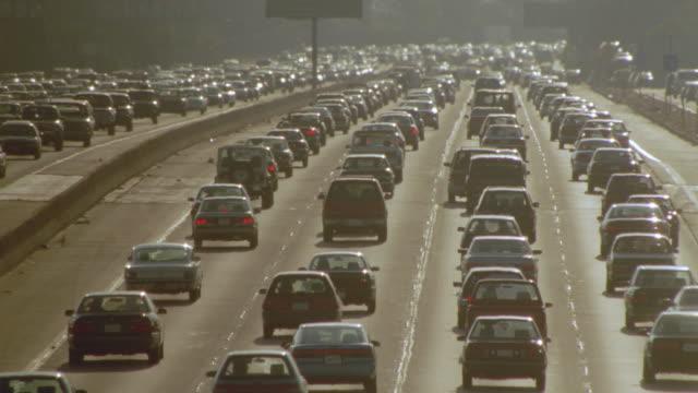 high angle traffic jam on Santa Monica Freeway + heat waves / Los Angeles