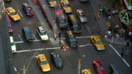 High angle traffic on Broadway and 7th Avenue in Times Square / midtown Manhattan, New York City
